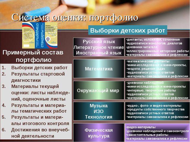 Система оценки: портфолио Русский язык Литературное чтение Иностранный язык д...