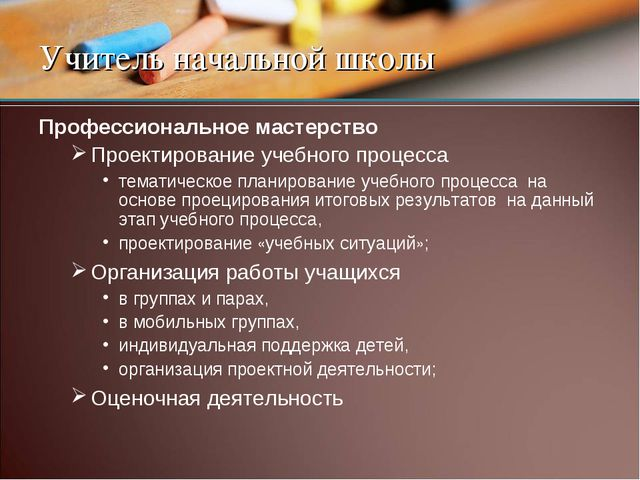 Учитель начальной школы Профессиональное мастерство Проектирование учебного п...