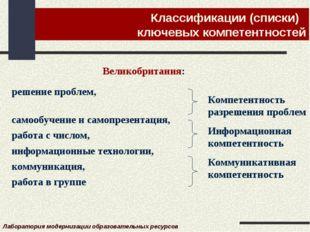 Классификации (списки) ключевых компетентностей Постановление Правительства С