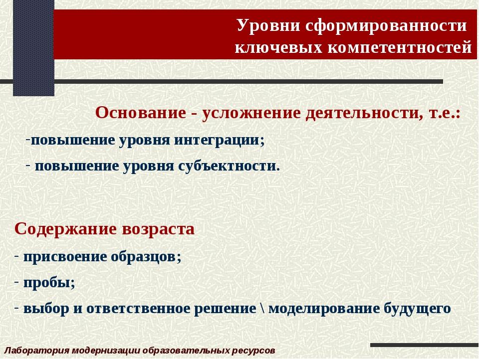 Уровни сформированности ключевых компетентностей Лаборатория модернизации обр...
