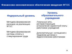 * Финансово-экономическое обеспечение введения ФГОС Федеральный уровеньУрове