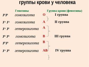 группы крови у человека ГенотипыГруппа крови (фенотипы) J0J0 гомозиготаО I