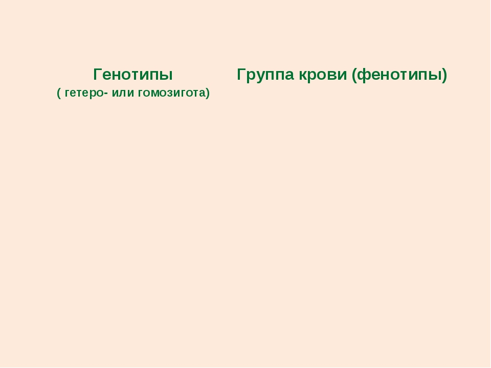 Генотипы ( гетеро- или гомозигота)Группа крови (фенотипы)