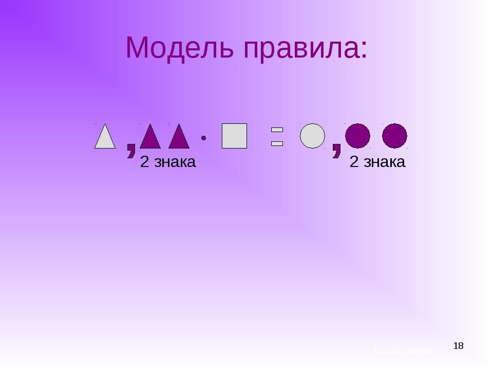 * Модель правила: ашихмина 2 знака 2 знака