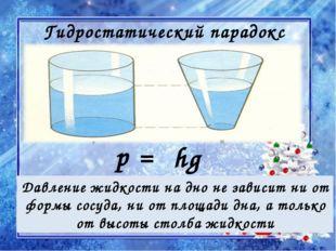 Гидростатический парадокс Давление жидкости на дно не зависит ни от формы сос