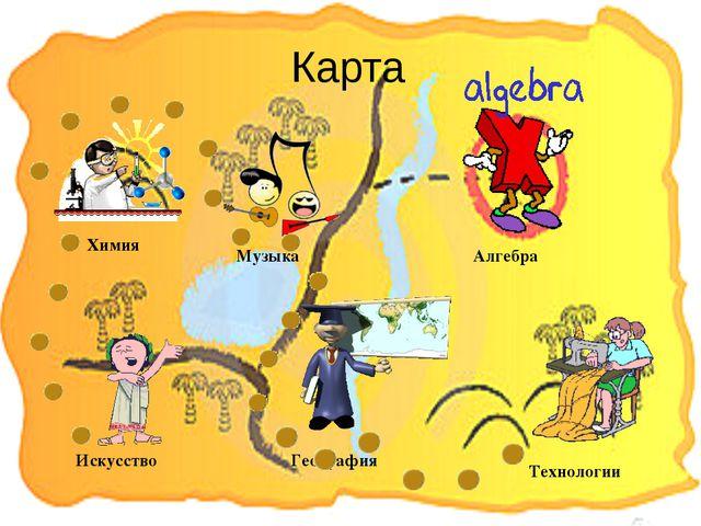 Карта Искусство Химия География Технологии Алгебра Музыка
