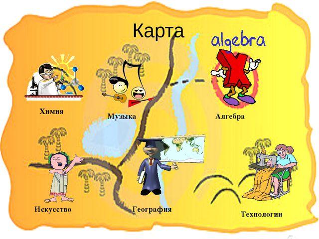 Карта Искусство Химия Музыка География Технологии Алгебра