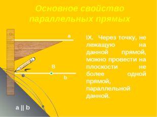 Основное свойство параллельных прямых а || b а В b IX. Через точку, не лежащу