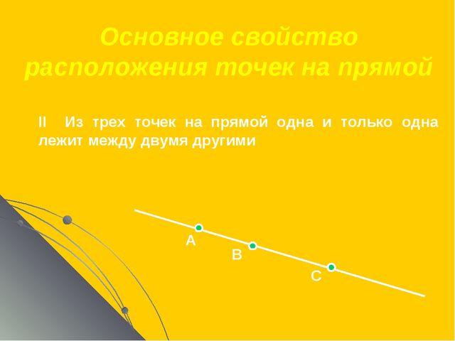 Основное свойство расположения точек на прямой А В С II Из трех точек на прям...