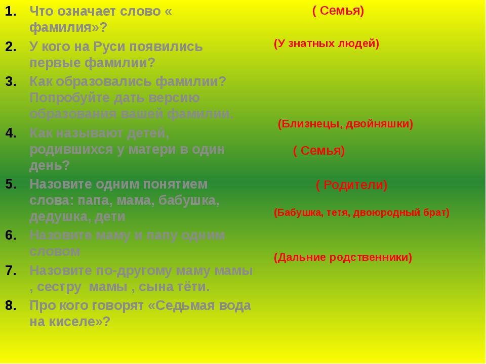 Что означает слово « фамилия»? У кого на Руси появились первые фамилии? Как о...