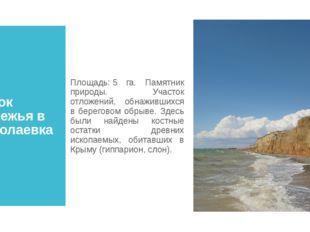 Участок побережья в с. Николаевка Площадь:5 га. Памятник природы. Участок от