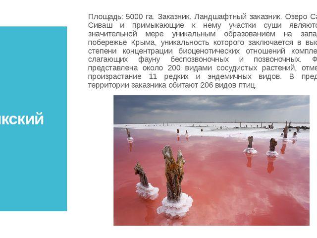 Сасыкский Площадь:5000 га. Заказник. Ландшафтный заказник. Озеро Сасык-Сиваш...
