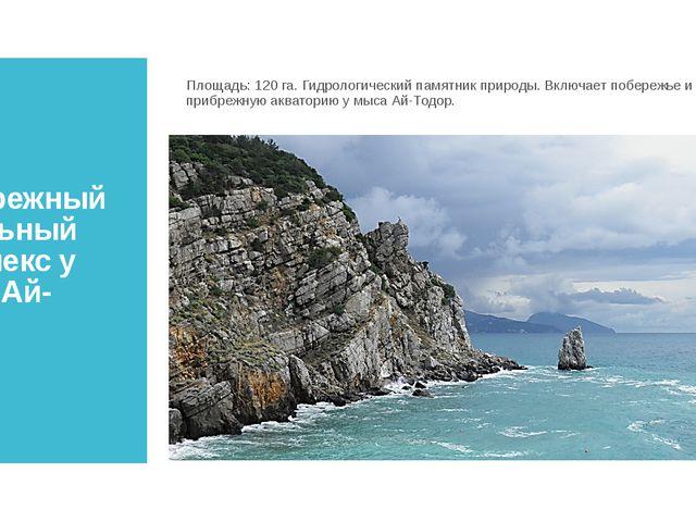 Прибрежный аквальный комплекс у мыса Ай-Тодор Площадь:120 га. Гидрологически...