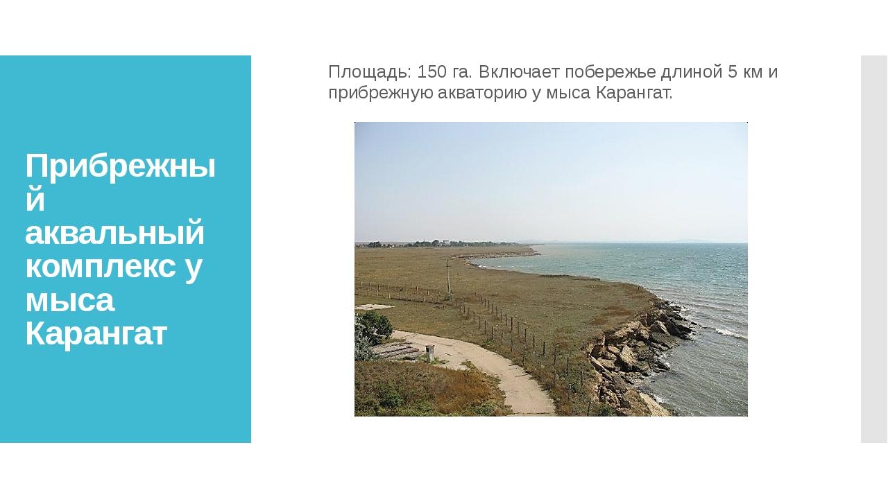 Прибрежный аквальный комплекс у мыса Карангат Площадь: 150 га. Включает побер...