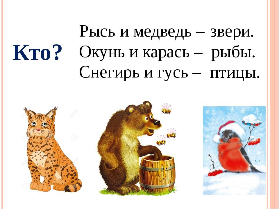 Кто? Рысь и медведь – Окунь и карась – Снегирь и гусь – звери. рыбы. птицы.
