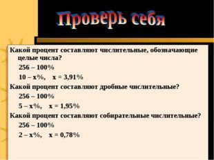 Какой процент составляют числительные, обозначающие целые числа? 256 – 100% 1