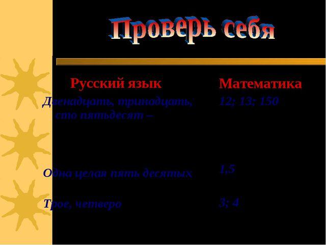 Русский язык Двенадцать, тринадцать, сто пятьдесят – числительные, обозначаю...