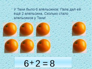 У Тани было 6 апельсинов. Папа дал ей ещё 2 апельсина. Сколько стало апельсин