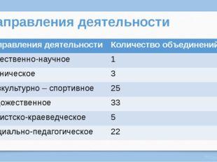 Направления деятельности Направления деятельности Количество объединений Есте