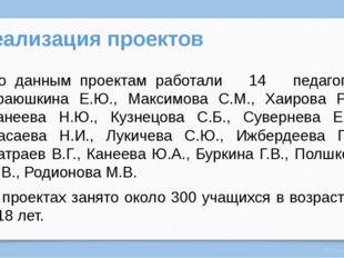 Реализация проектов По данным проектам работали 14 педагогов: Краюшкина Е.Ю.,