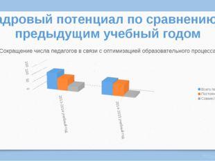 Кадровый потенциал по сравнению с предыдущим учебный годом Виктория Полшкова