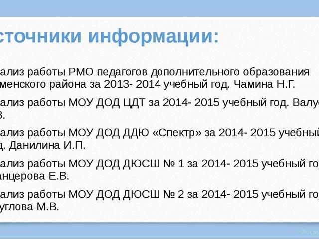 Источники информации: Анализ работы РМО педагогов дополнительного образования...