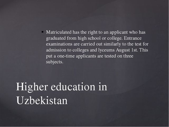 Matriculated has the right to an applicant who has graduated from high school...