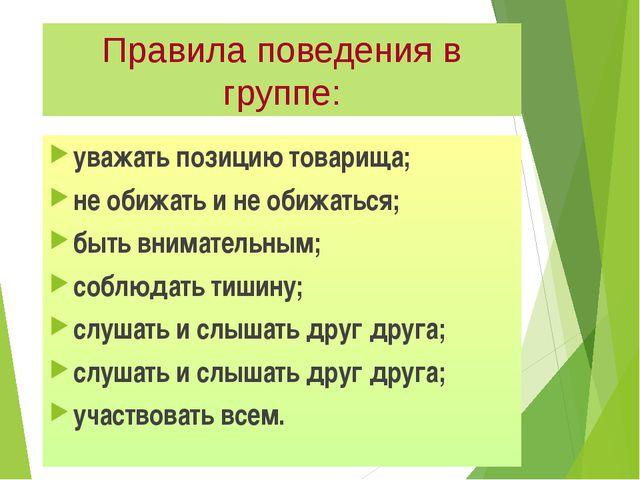 Правила поведения в группе: уважать позицию товарища; не обижать и не обижать...