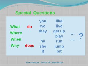 Special Questions Inna Askaryan. School 45. Severskaya What Where When Why d