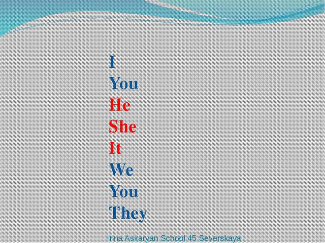 I You He She It We You They Inna Askaryan School 45 Severskaya