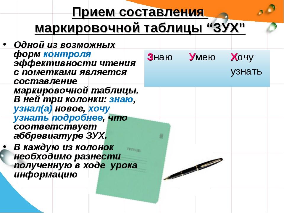 """Прием составления маркировочной таблицы """"ЗУХ"""" Одной из возможных форм контрол..."""