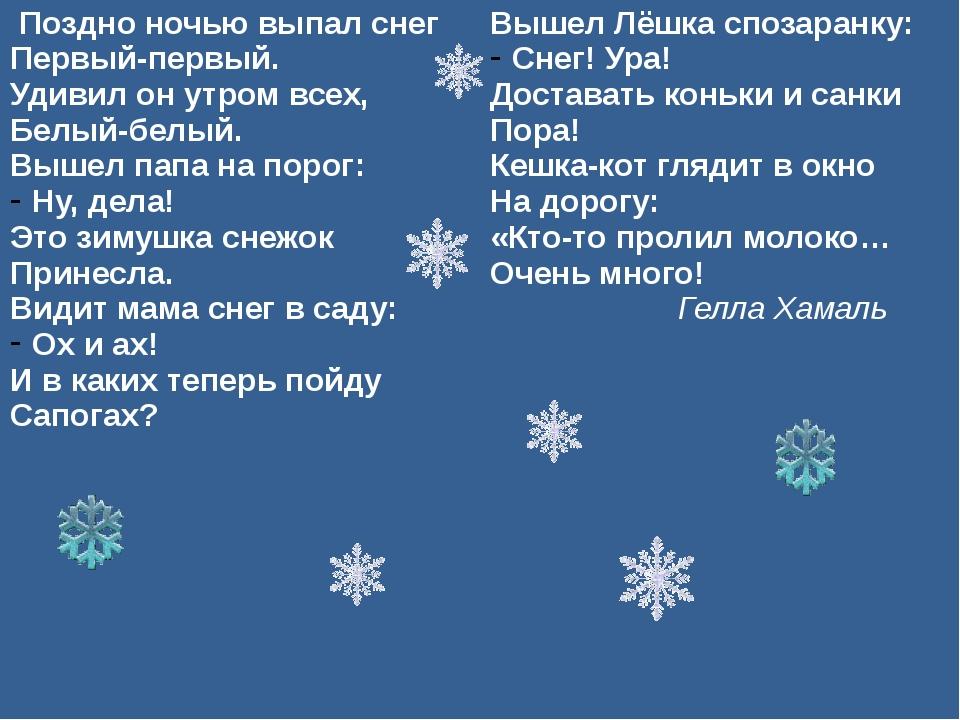 Поздно ночью выпал снег Первый-первый. Удивил он утром всех, Белый-белый. Выш...