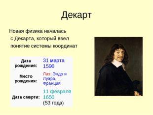 Декарт Новая физика началась с Декарта, который ввел понятие системы координа