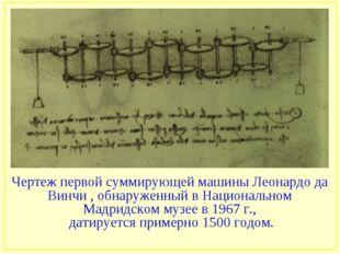 Чертеж первой суммирующей машины Леонардо да Винчи , обнаруженный в Националь