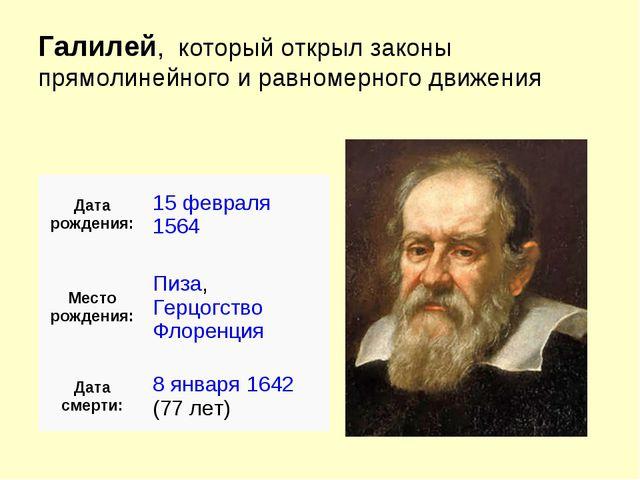 Галилей, который открыл законы прямолинейного и равномерного движения Дата ро...