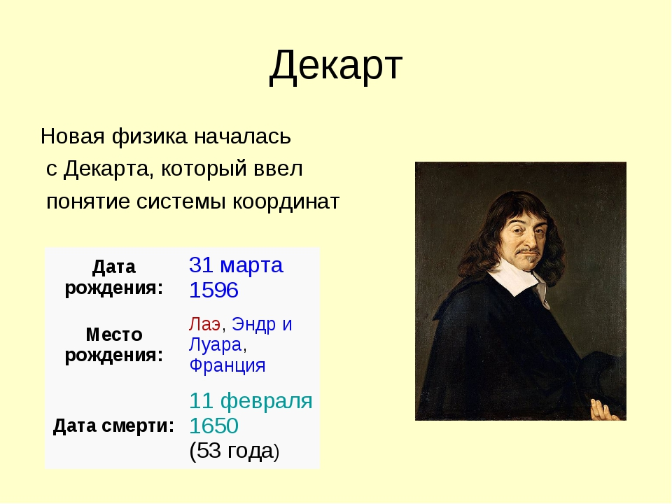 Декарт Новая физика началась с Декарта, который ввел понятие системы координа...