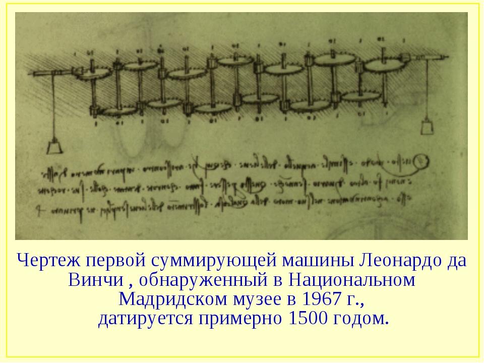 Чертеж первой суммирующей машины Леонардо да Винчи , обнаруженный в Националь...