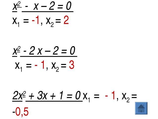 х2- х – 2 = 0  х1 = -1, х2= 2 х2- 2 х – 2 = 0 х1 = - 1, х2= 3 2х2+...