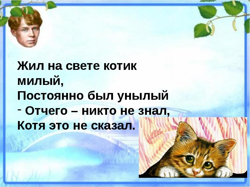 Жил на свете котик милый, Постоянно был унылый Отчего – никто не знал, Котя э...