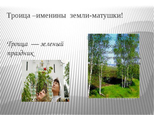 Троица –именины земли-матушки! Троица — зеленый праздник