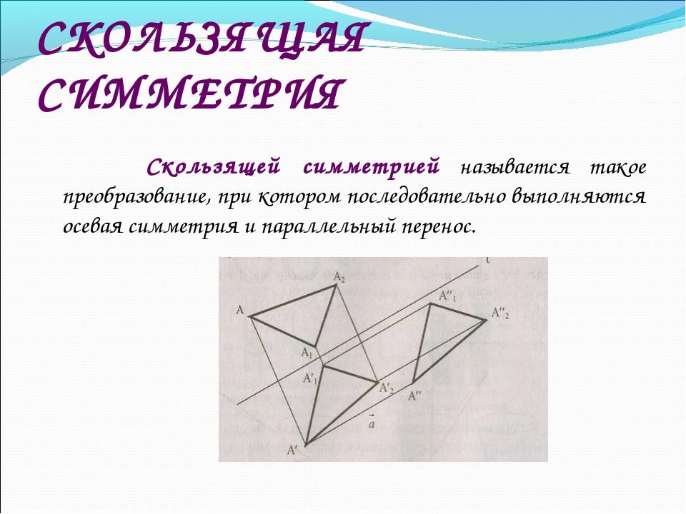 СКОЛЬЗЯЩАЯ СИММЕТРИЯ  Скользящей симметрией называется такое преобразование,...