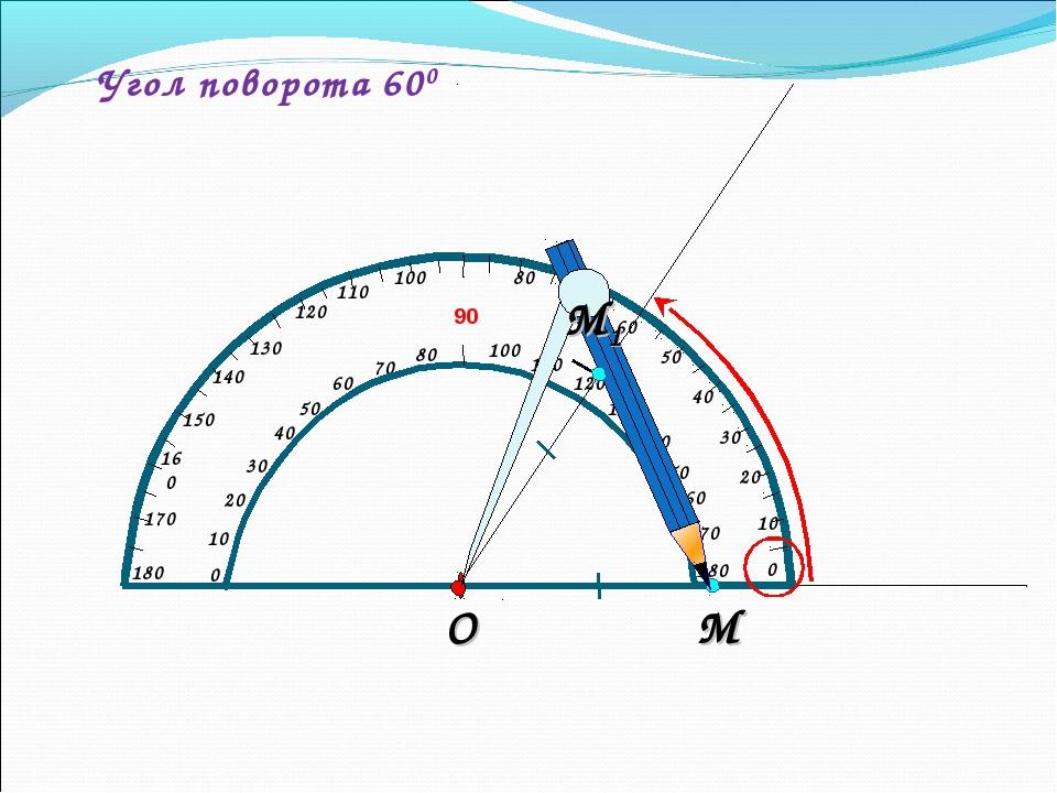 Угол поворота 600 М О М1