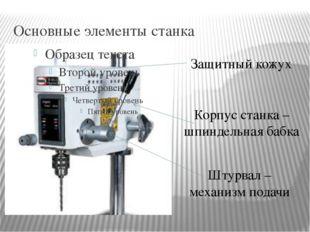 Основные элементы станка Корпус станка – шпиндельная бабка Защитный кожух Шту