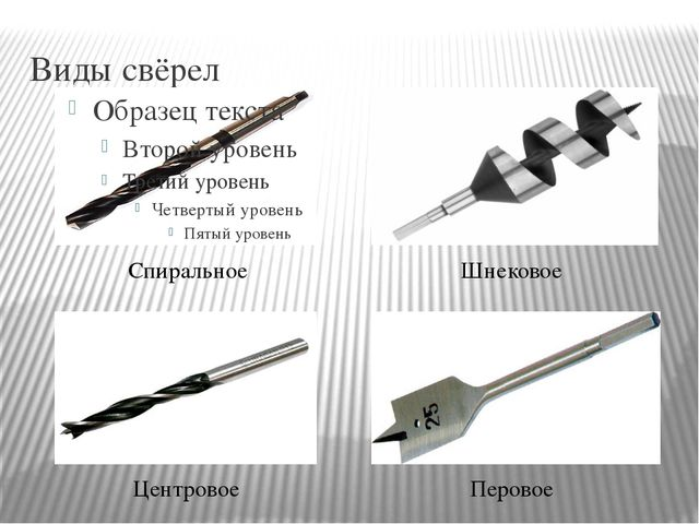 Виды свёрел Спиральное Центровое Шнековое Перовое