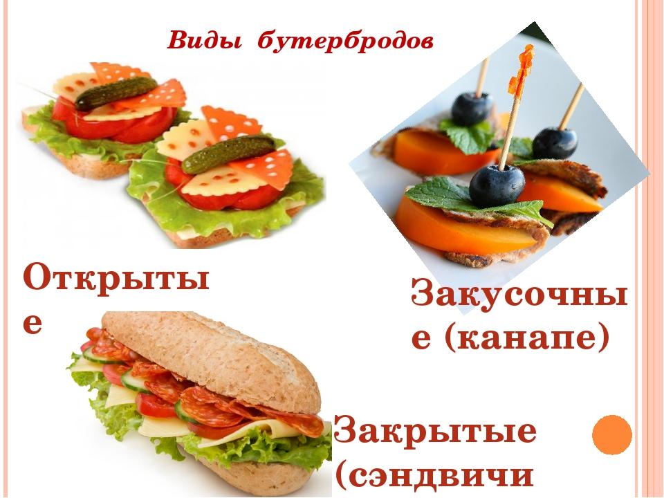Виды бутербродов Открытые Закусочные (канапе) Закрытые (сэндвичи)