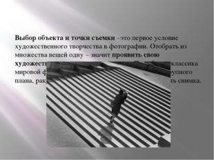Выбор объекта и точки съемки –это первое условие художественного творчества в