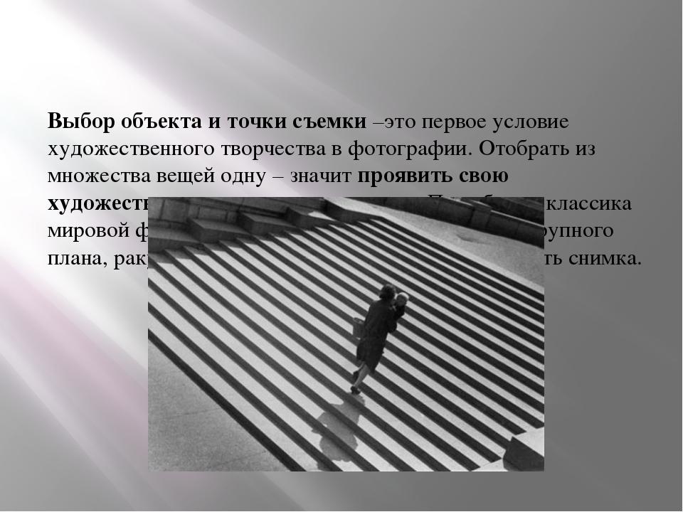 Выбор объекта и точки съемки –это первое условие художественного творчества в...