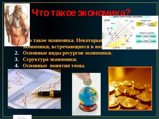 Что такое экономика? Что такое экономика. Некоторые понятия экономики, встреч...