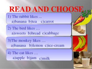 READ AND CHOOSE 1) The rabbit likes ... a)banana b)tea 2) The bird likes … a)