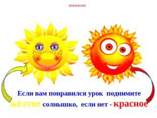 Если вам понравился урок поднимите жёлтое солнышко, если нет - красное РЕФЛЕК